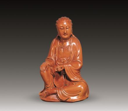 二十世纪 黄杨木雕观音坐像