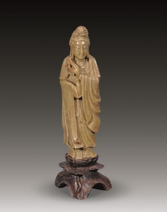 清 青田石雕观音立像