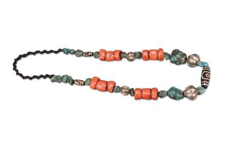 十七世纪 藏传三眼天珠珊瑚项链