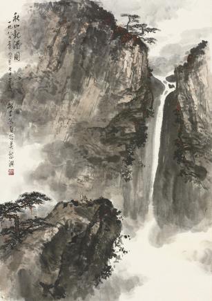 魏紫熙  秋山观瀑图