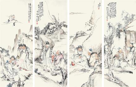 黄羲  琴棋书画四条屏1927年作