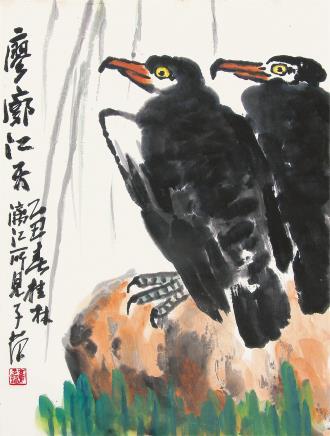 崔子范  廖廊江天1985年作