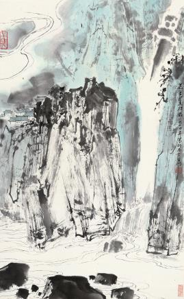 亚明(1924~2002)山涧飞瀑