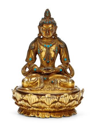 清早期     铜鎏金释迦摩尼