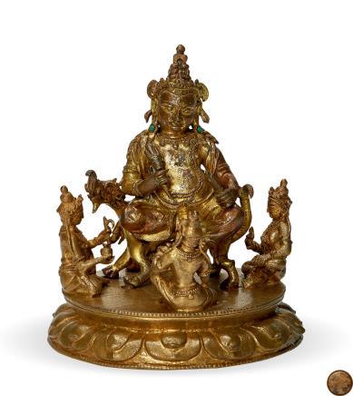 明中叶     铜鎏金白财神造像