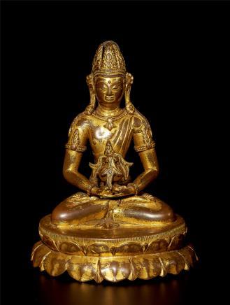 十三/十四世纪     铜鎏金无量寿佛造像