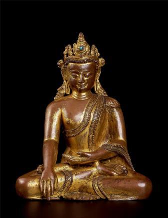 十四世纪     铜鎏金释迦摩尼佛造像