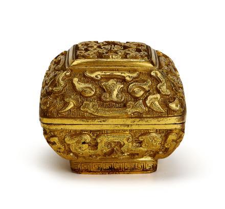 18世紀     銅鎏金饕餮纹香盒
