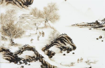 清 雍正   墨彩山水人物纹瓷板插屏