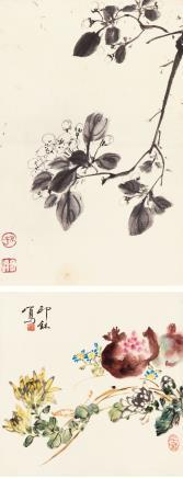 萧  朗(1917-2010)  孙其峰(b.1920)  花鸟二帧