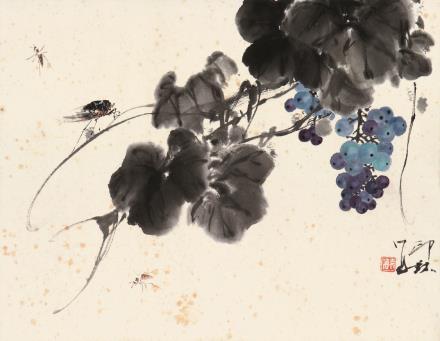 萧  朗(1917-2010)  葡萄草虫