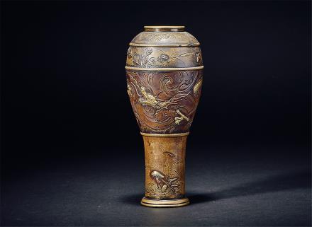 清铜镶金银龙纹花鸟纹花瓶