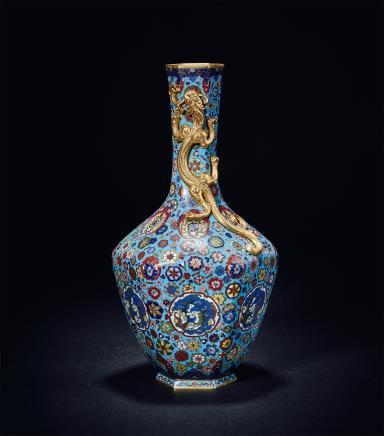 清乾隆景泰蓝螭龙瓶
