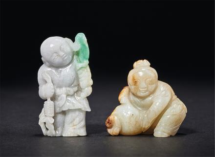 明-清白玉石榴童子翡翠刘海戏金蟾童子二件