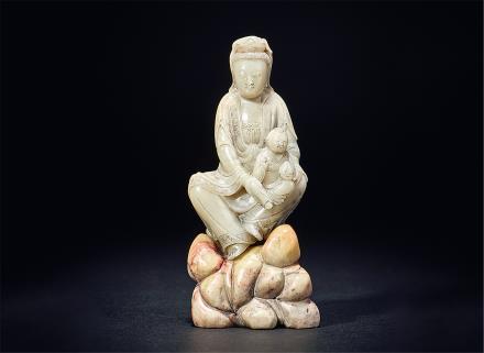 清寿山石雕送子观音