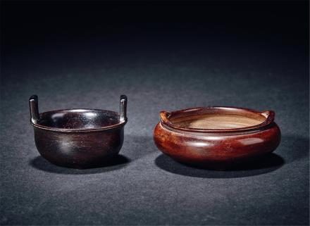 清紫檀及金丝楠木香炉