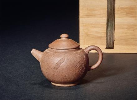 清金士恒制竹叶诗文巨轮珠壶