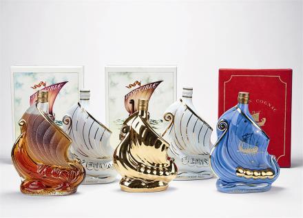 70-80年代 拉森帆船型瓶法国干邑 共8瓶