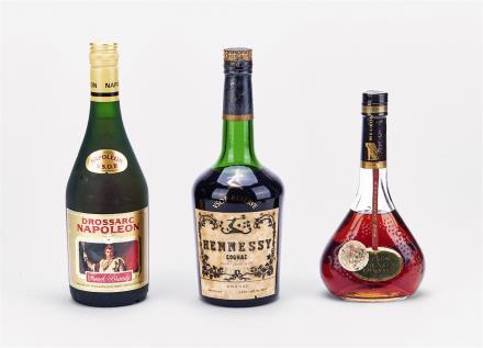 70-80年代 大将军拿破仑、轩尼诗VSOP及墨高法国白兰地 共3瓶