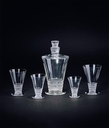30年代 法国莱俪水晶玻璃醒酒器一套(1瓶4杯)