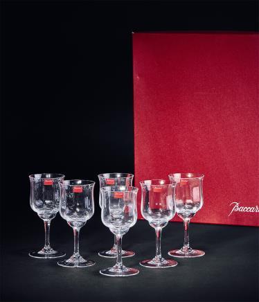 法国巴卡拉 水晶玻璃郁金香干邑杯一套 共6只