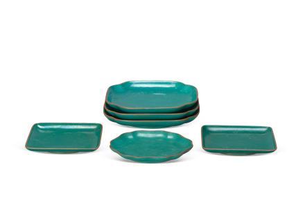 紫砂绿釉盘(6块) 晚清民国
