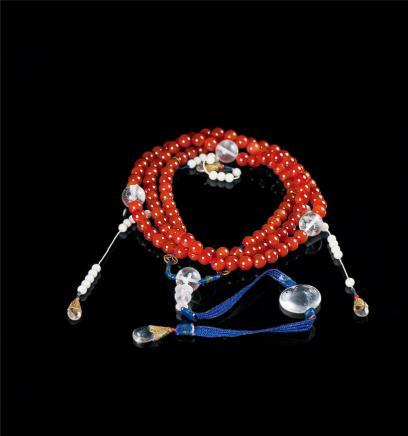 红玛瑙串砗磲108多宝朝珠(附证书) 当代