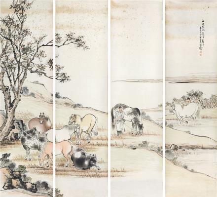李养源(1888-1968)洗马图