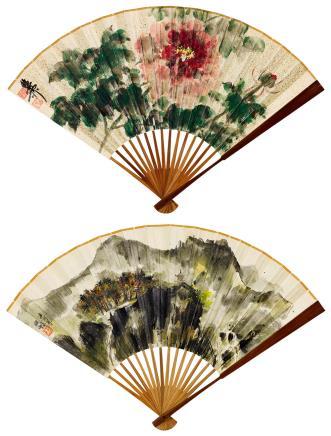 程十髮(1921-2007)、谢稚柳(1910-1997)山水 花卉