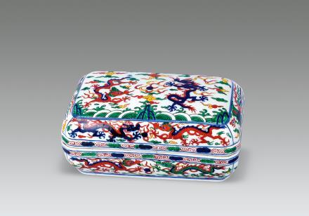 青花五彩龙纹盒