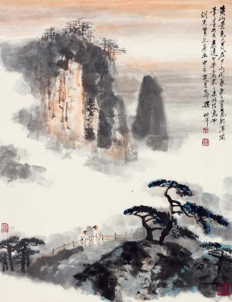 梁树年  松风云海图