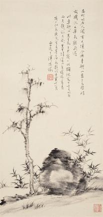 李研山古木竹石图
