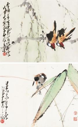 赵少昂、梁安众柳枝双雀、竹叶小鸟
