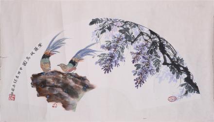 张志武 《紫藤双鸟图》