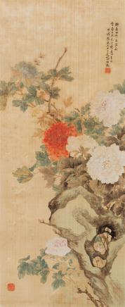 容祖椿牡丹图