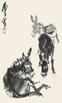 黄胄  群驴