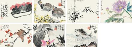 李苦禅董寿平等  花鸟册页