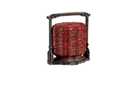 明  剔红提盒(羲之爱鹅)