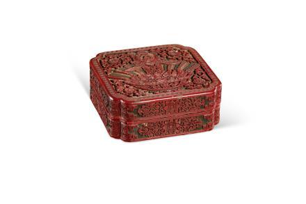 """清  """"春""""字款剔红方盒"""