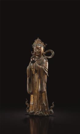 明  铜漆金龙女立像