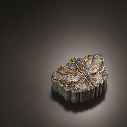 清中期  掐丝珐琅蝶形盖盒