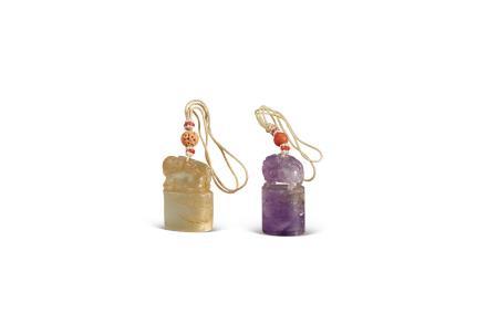 清乾隆  黄碧玺、紫水晶雕龙钮玺(两枚)