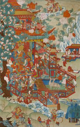 19世纪  悉达多太子游乐唐卡(藏东)