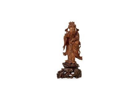 清  黄杨木财神(带座)