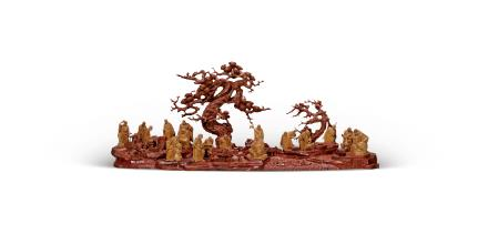 当代  檀香木十八罗汉
