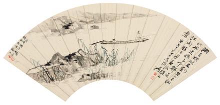 张大千(1899-1983)春江泛钓