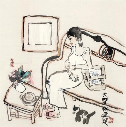 朱新建(1953-2014)白裙少女