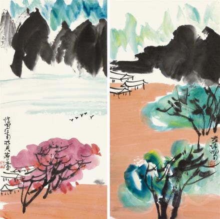 许麟庐(1916-2011)山水二屏