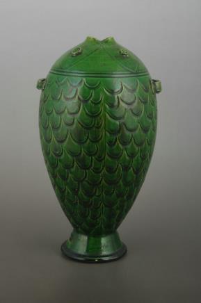 绿釉鱼形双系瓶