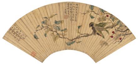 陆治(1496-1576)茶花翠鸟